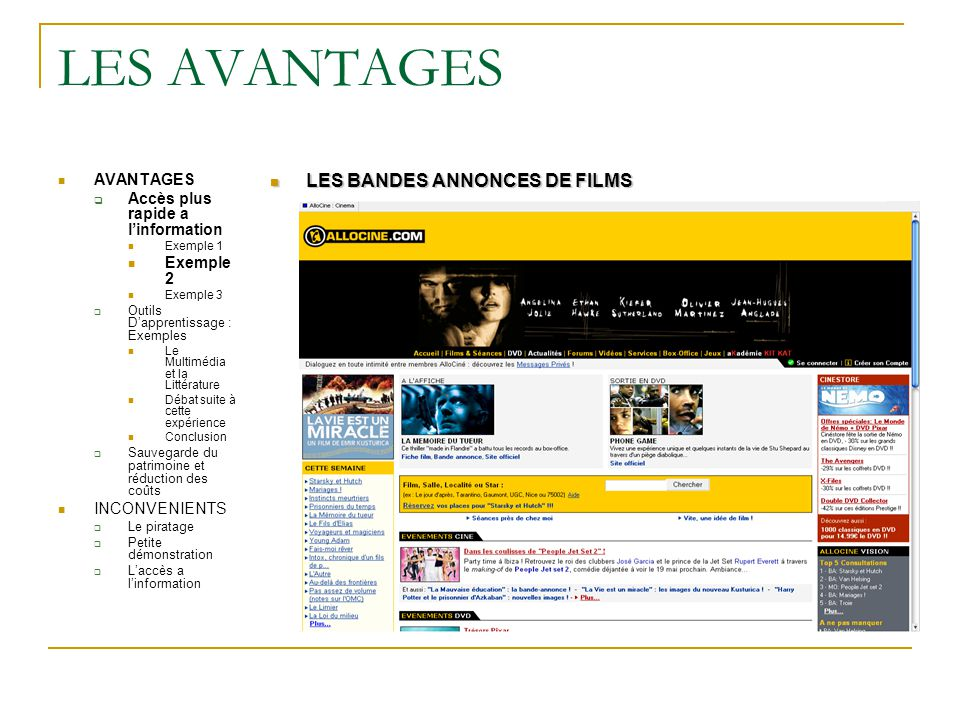 LES AVANTAGES LES BANDES ANNONCES DE FILMS AVANTAGES