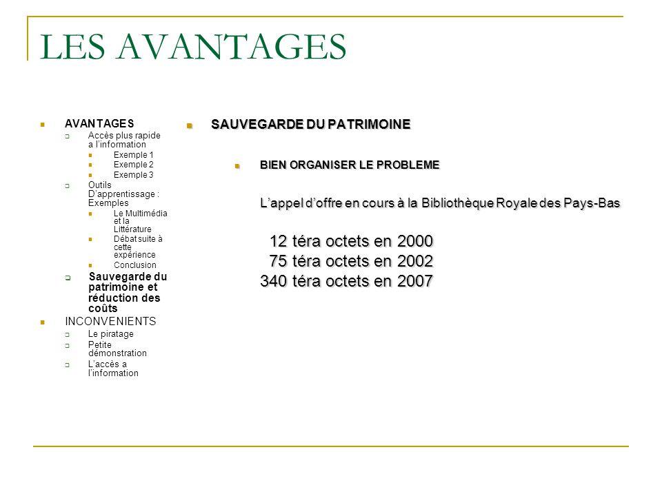 LES AVANTAGES 12 téra octets en 2000 75 téra octets en 2002