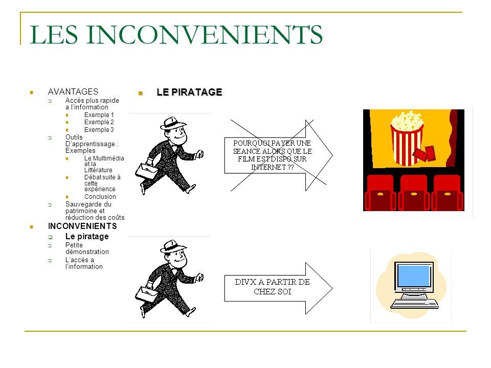 LES INCONVENIENTS LE PIRATAGE AVANTAGES INCONVENIENTS Le piratage