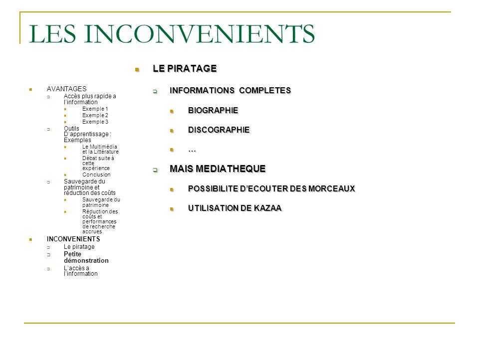 LES INCONVENIENTS LE PIRATAGE MAIS MEDIATHEQUE INFORMATIONS COMPLETES