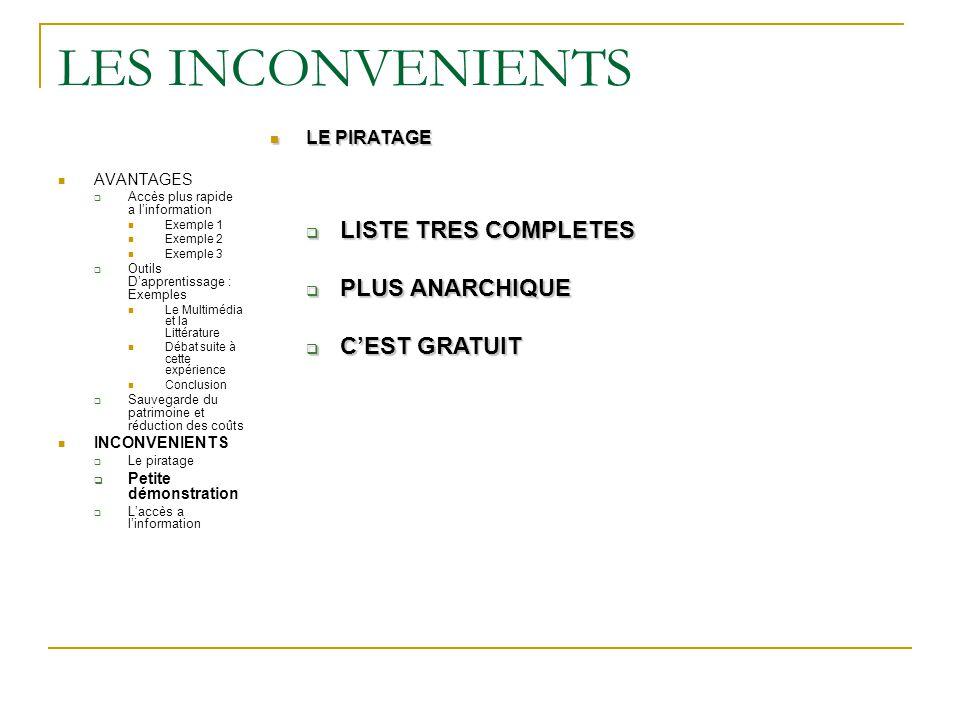 LES INCONVENIENTS LISTE TRES COMPLETES PLUS ANARCHIQUE C'EST GRATUIT