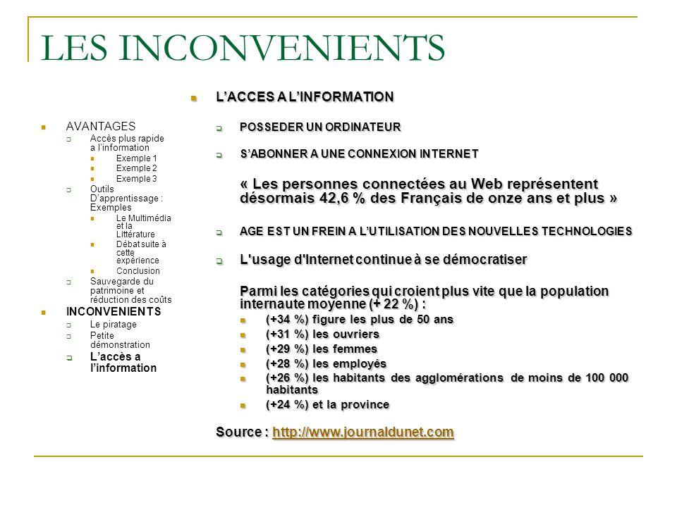LES INCONVENIENTS L'ACCES A L'INFORMATION. POSSEDER UN ORDINATEUR. S'ABONNER A UNE CONNEXION INTERNET.