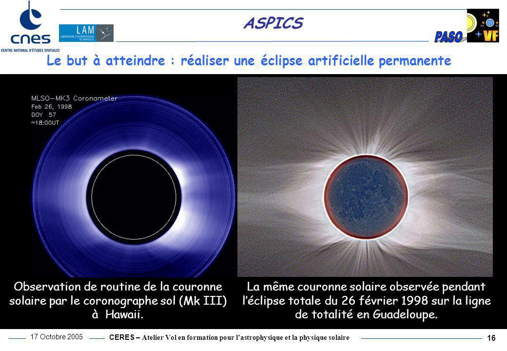 Le but à atteindre : réaliser une éclipse artificielle permanente