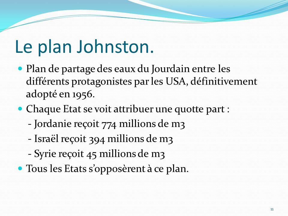 Le plan Johnston. Plan de partage des eaux du Jourdain entre les différents protagonistes par les USA, définitivement adopté en 1956.