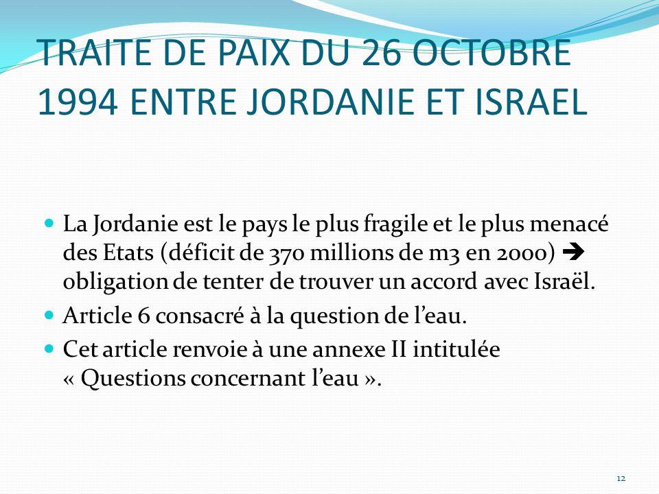TRAITE DE PAIX DU 26 OCTOBRE 1994 ENTRE JORDANIE ET ISRAEL