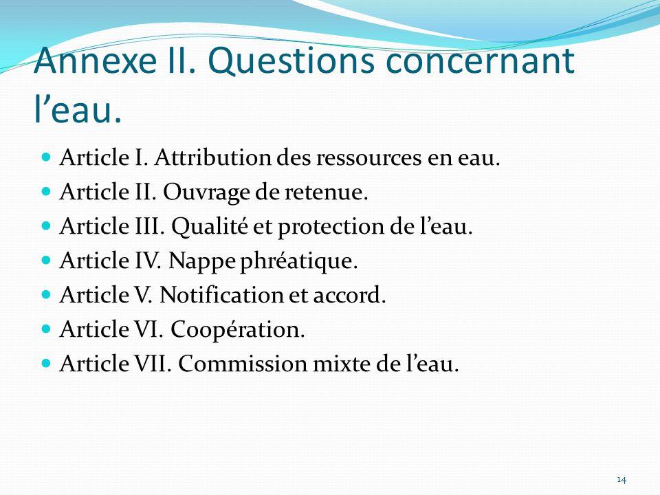 Annexe II. Questions concernant l'eau.