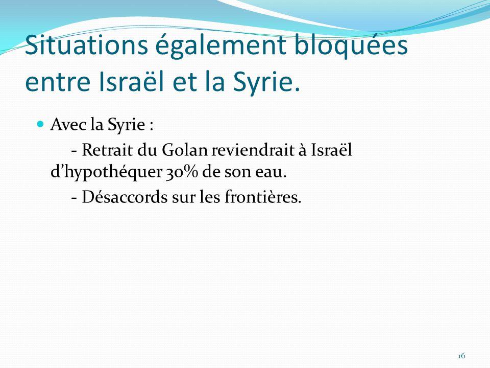 Situations également bloquées entre Israël et la Syrie.