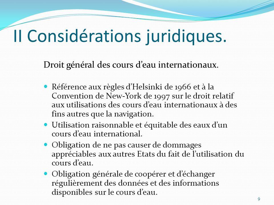 II Considérations juridiques.