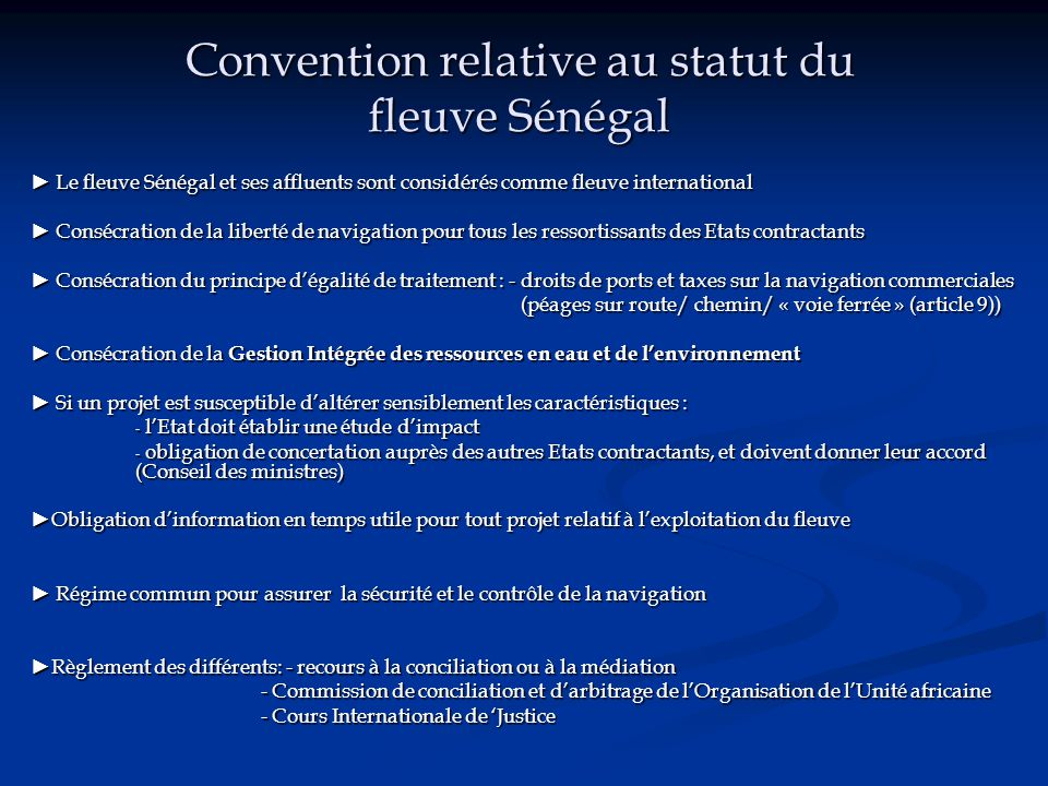 Convention relative au statut du fleuve Sénégal