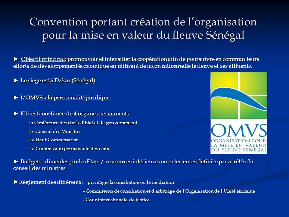 Convention portant création de l'organisation pour la mise en valeur du fleuve Sénégal