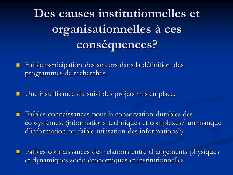 Des causes institutionnelles et organisationnelles à ces conséquences