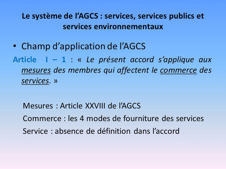 Champ d'application de l'AGCS