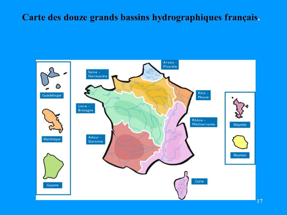 Carte des douze grands bassins hydrographiques français.
