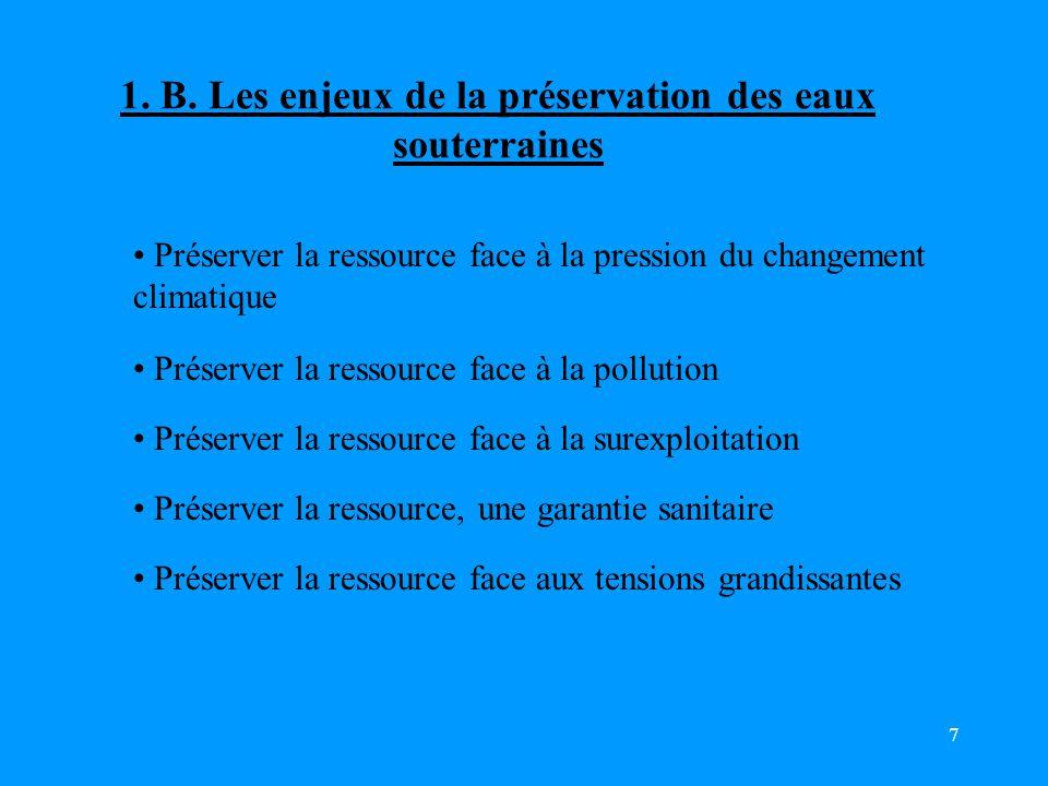 1. B. Les enjeux de la préservation des eaux souterraines