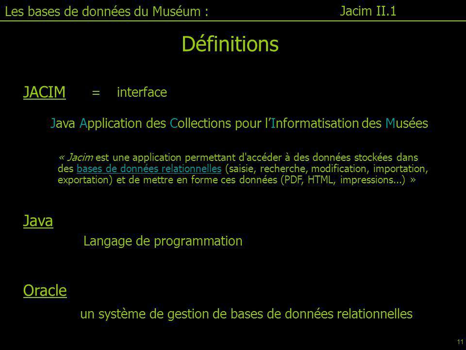 Définitions JACIM Java Oracle Les bases de données du Muséum :