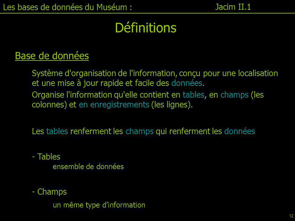 Définitions Base de données Les bases de données du Muséum :