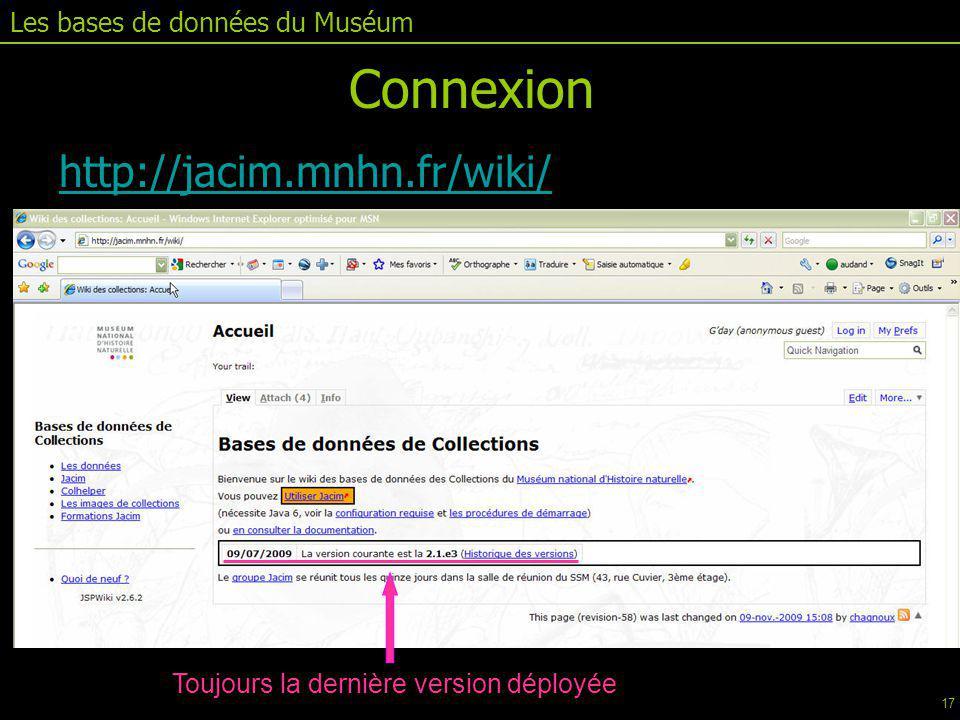 Connexion http://jacim.mnhn.fr/wiki/ Les bases de données du Muséum