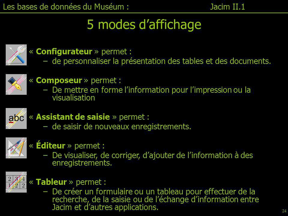 5 modes d'affichage Les bases de données du Muséum : Jacim II.1