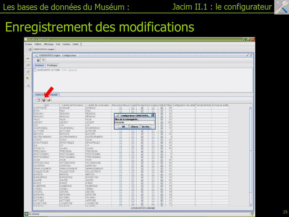 Enregistrement des modifications