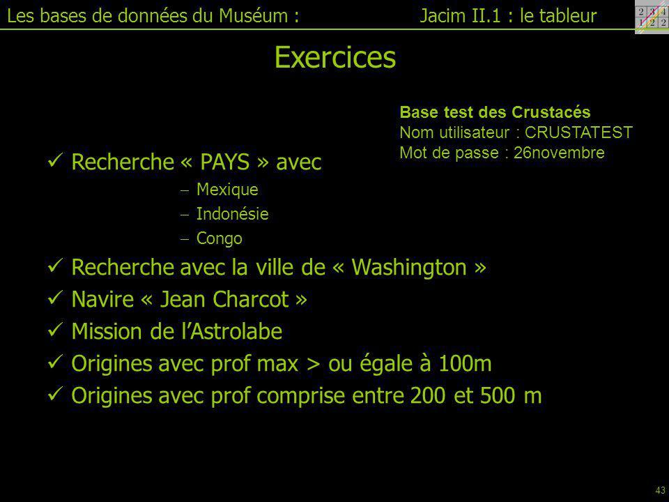 Exercices Recherche « PAYS » avec