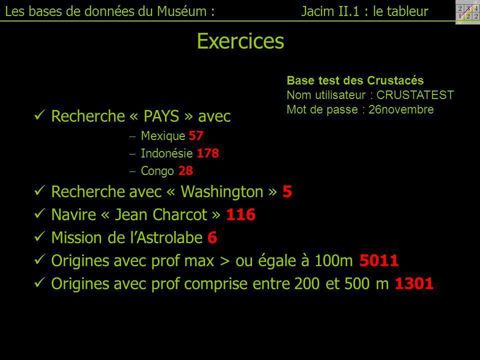 Exercices Recherche « PAYS » avec Recherche avec « Washington » 5