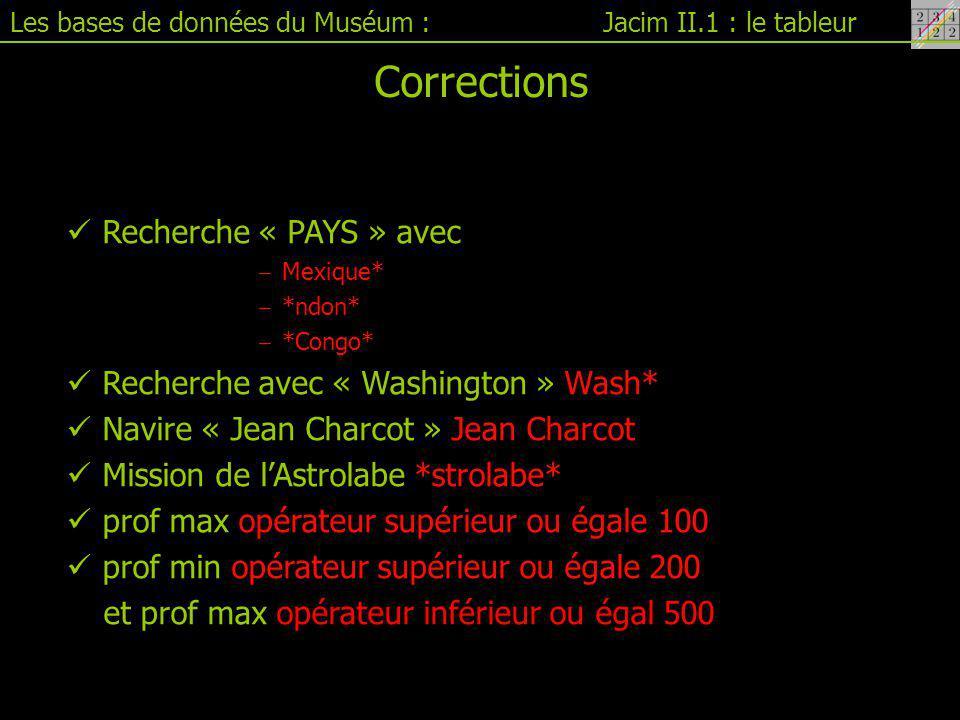 Corrections Recherche « PAYS » avec