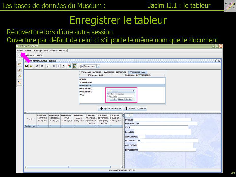 Enregistrer le tableur