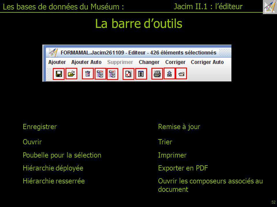 La barre d'outils Les bases de données du Muséum :