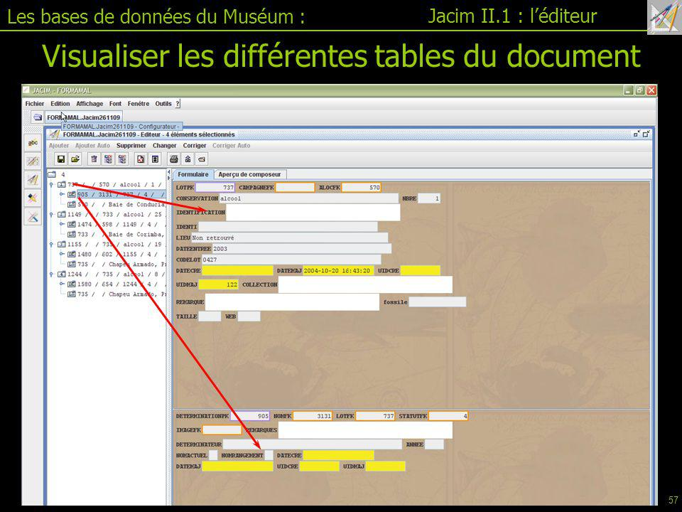 Visualiser les différentes tables du document