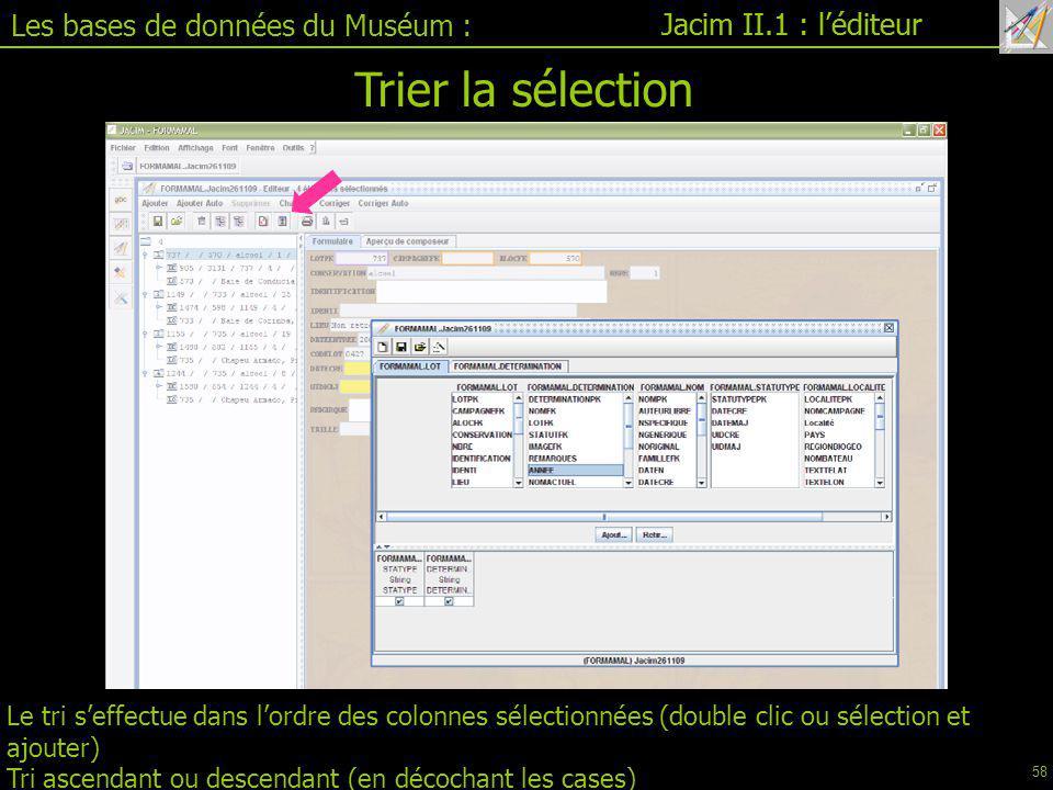 Trier la sélection Les bases de données du Muséum :
