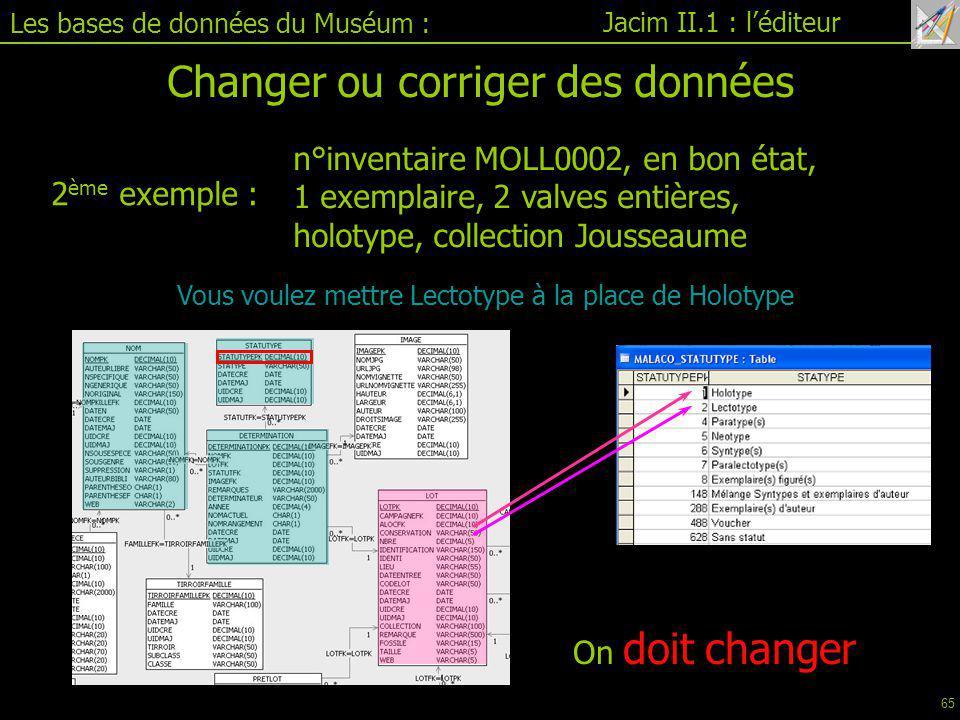 Changer ou corriger des données