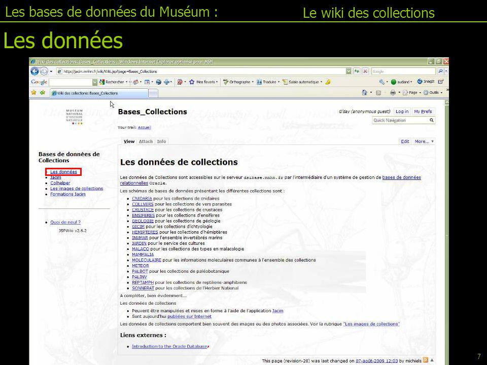 Les bases de données du Muséum :