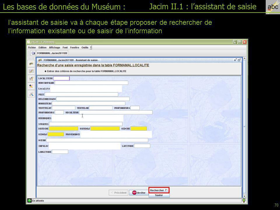 Les bases de données du Muséum : Jacim II.1 : l'assistant de saisie
