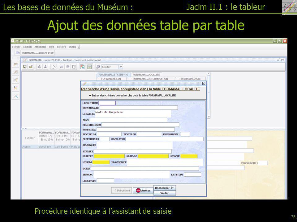 Ajout des données table par table