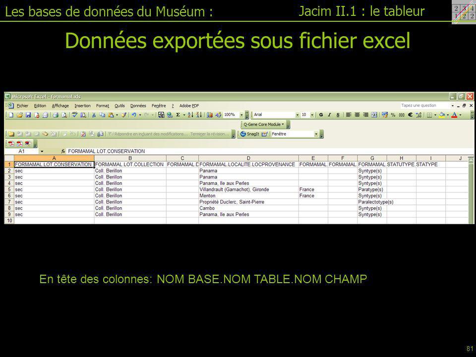 Données exportées sous fichier excel