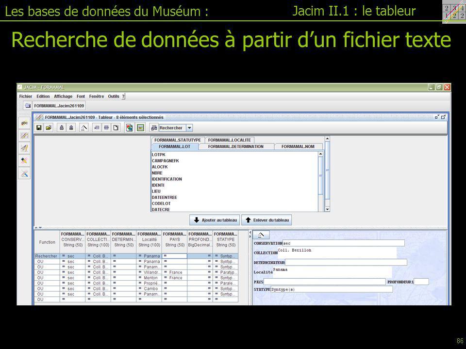 Recherche de données à partir d'un fichier texte