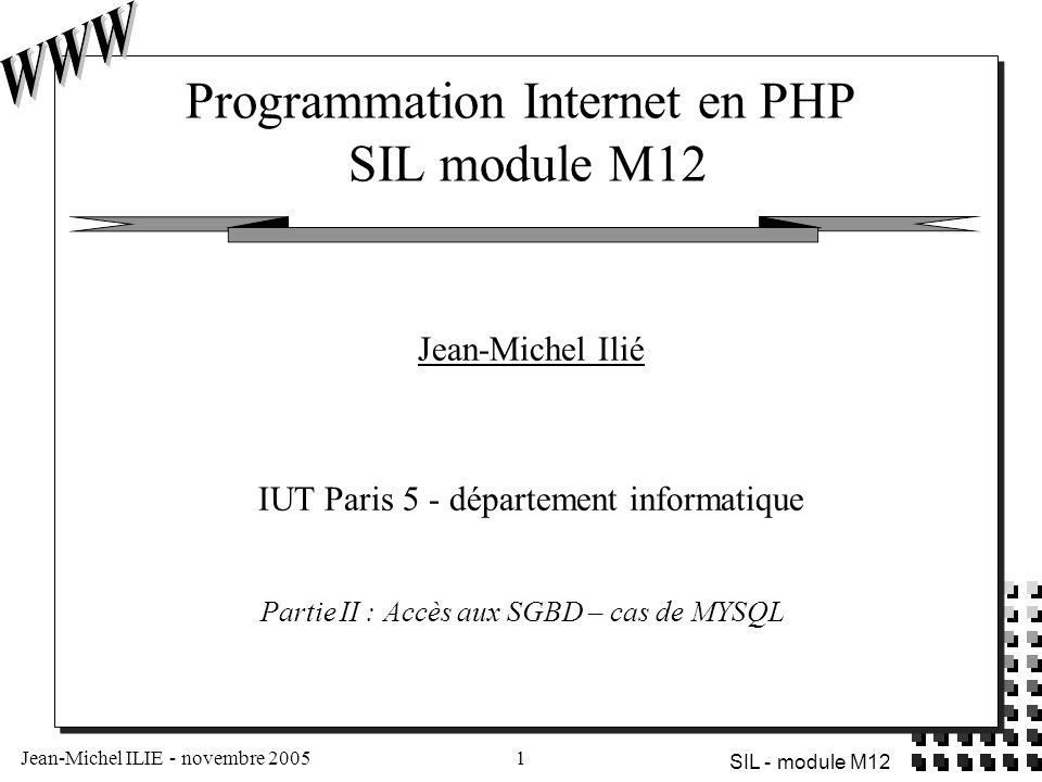 Programmation Internet en PHP SIL module M12