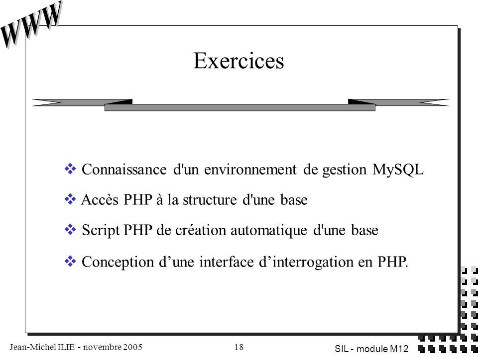Exercices Connaissance d un environnement de gestion MySQL