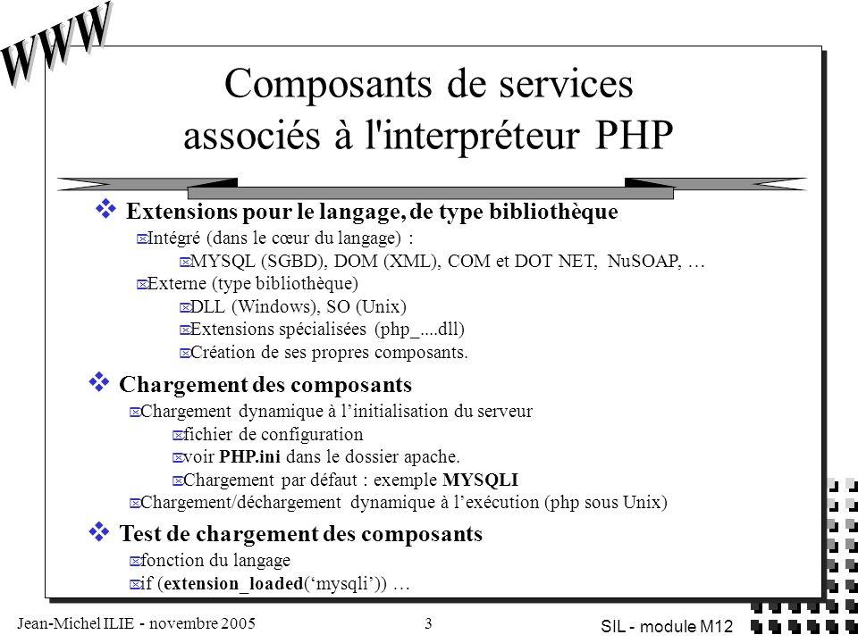 Composants de services associés à l interpréteur PHP