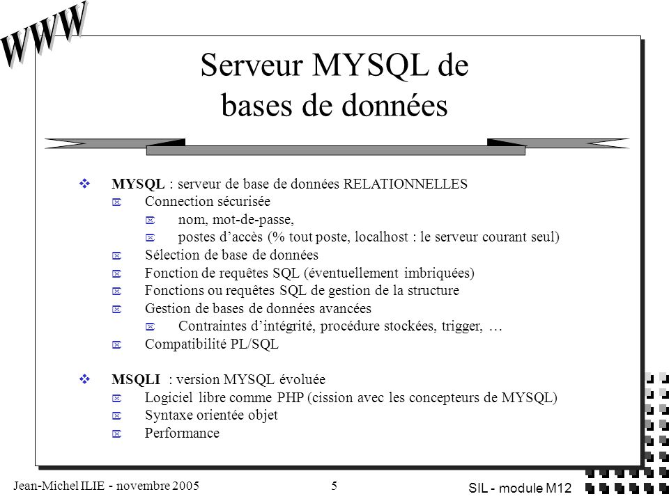 Serveur MYSQL de bases de données