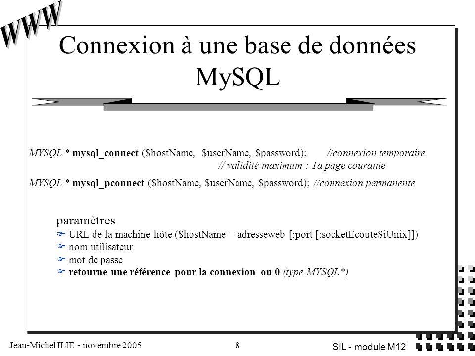 Connexion à une base de données MySQL