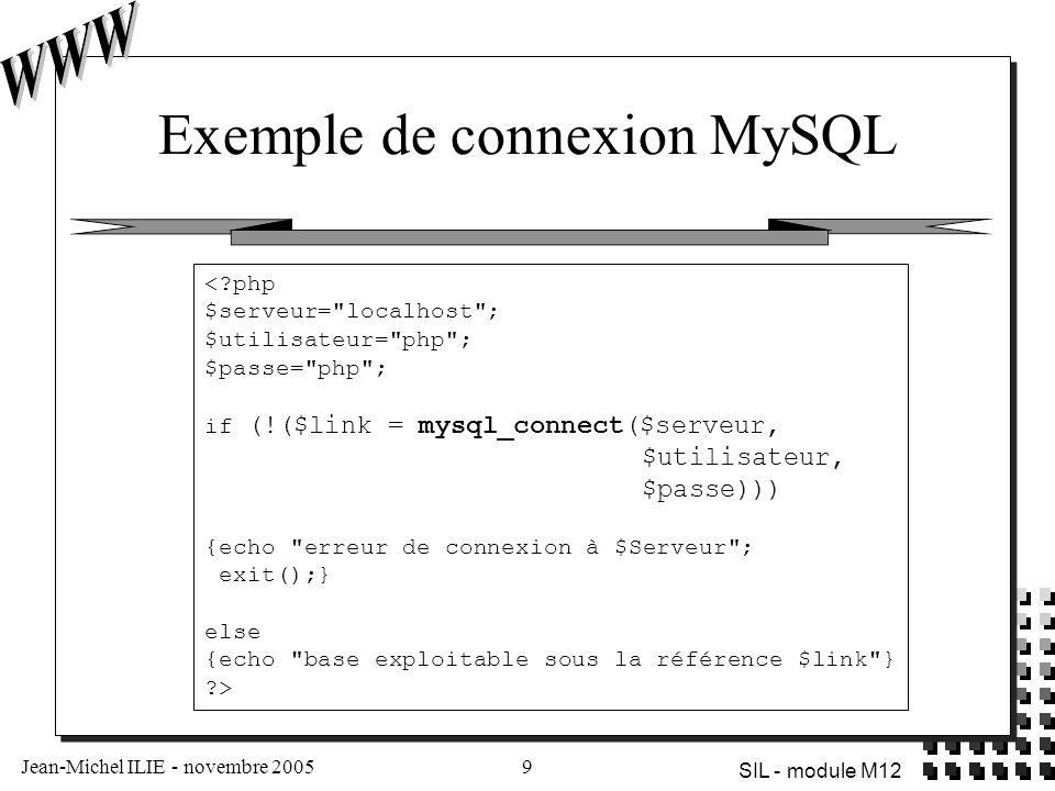 Exemple de connexion MySQL