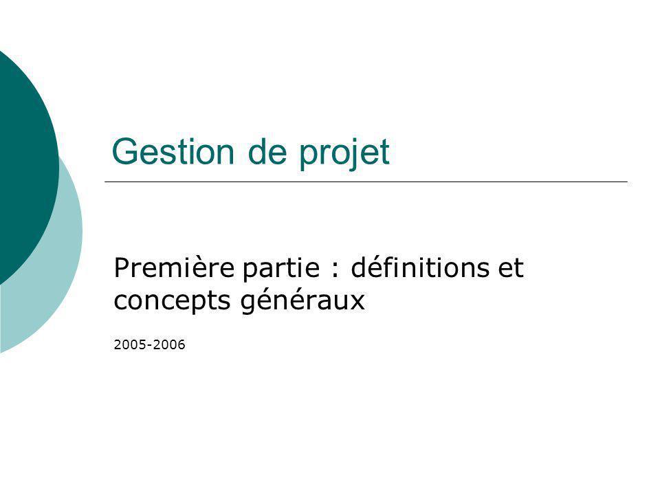 Première partie : définitions et concepts généraux 2005-2006