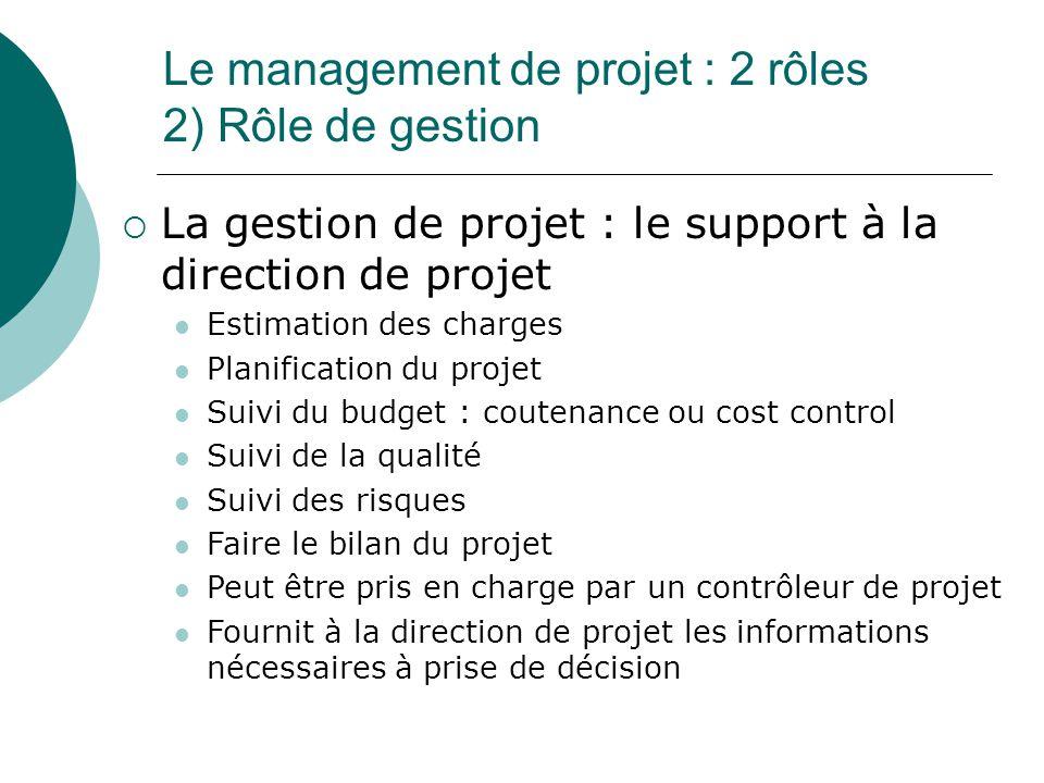 Le management de projet : 2 rôles 2) Rôle de gestion