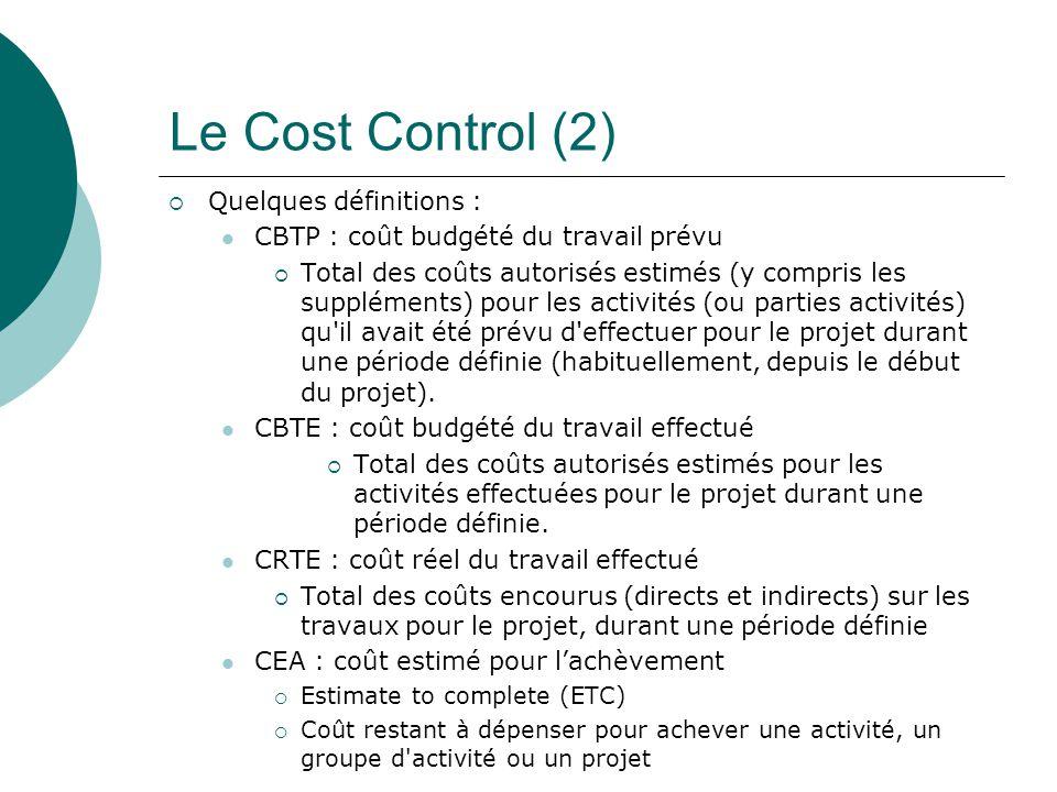 Le Cost Control (2) Quelques définitions :