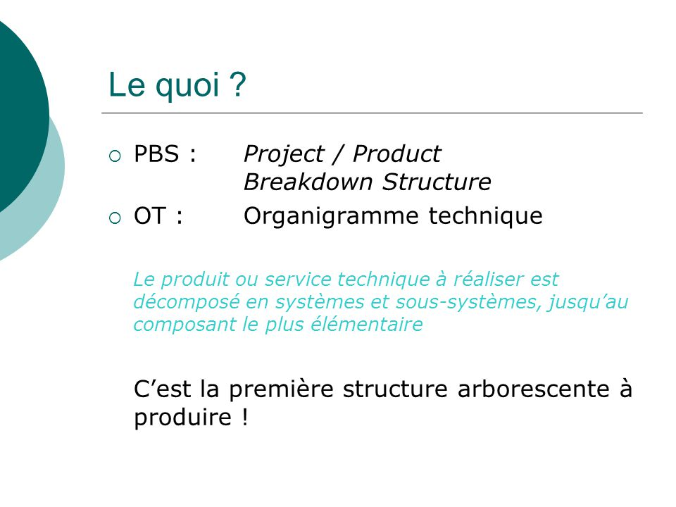Le quoi PBS : Project / Product Breakdown Structure