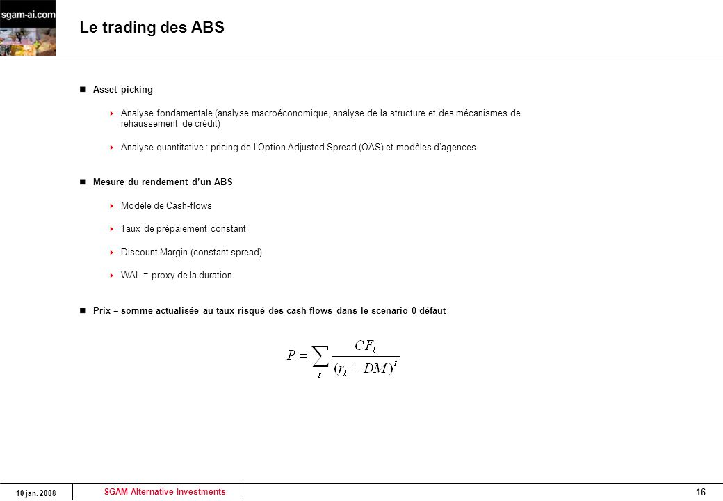 Le trading des ABS Asset picking