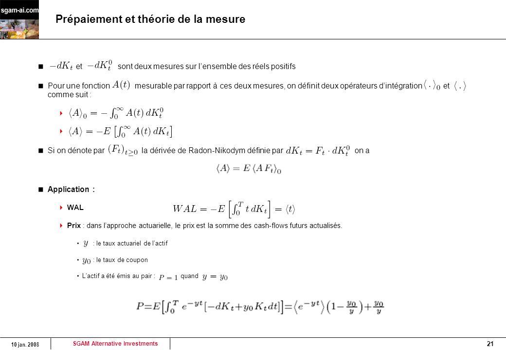 Prépaiement et théorie de la mesure