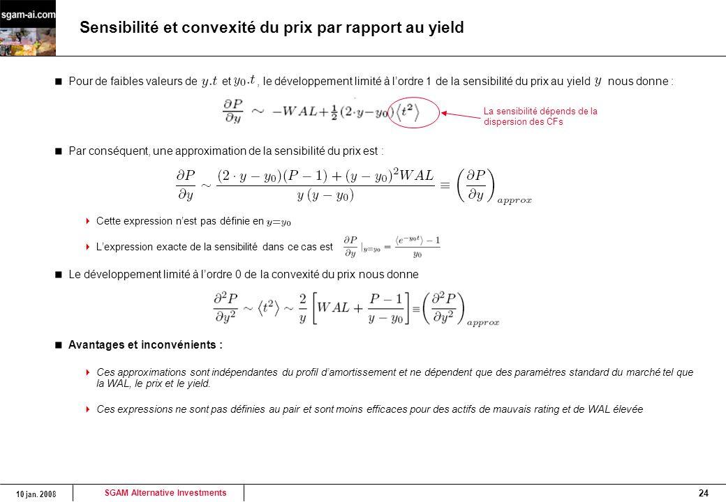 Sensibilité et convexité du prix par rapport au yield