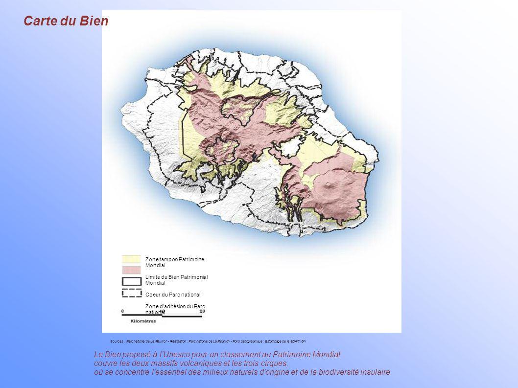 Carte du Bien Zone tampon Patrimoine Mondial. Limite du Bien Patrimonial Mondial. Coeur du Parc national.
